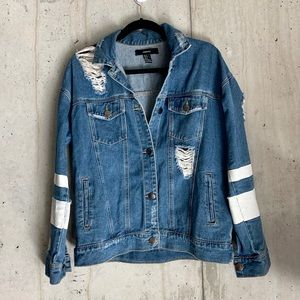 Distressed Medium Wash Denim Jean Jacket